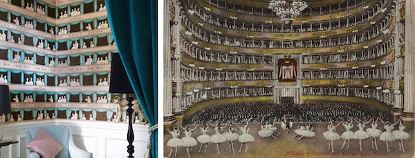 Left: Teatro, Fornasetti collection, Cole & Son – £150 per roll. Right: Interior of Teatro della Scala in 1900 By ungenannt [Public domain], via  Wikimedia Commons