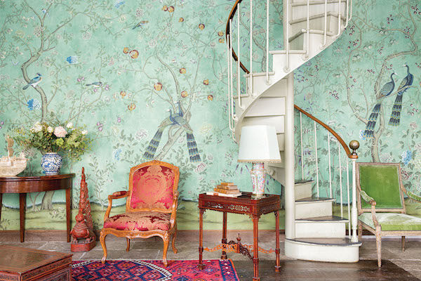 St Laurent in standard design colours on Turquoise Edo tea paper, de Gournay – price available on request. Photo: Mariam Medvedeva