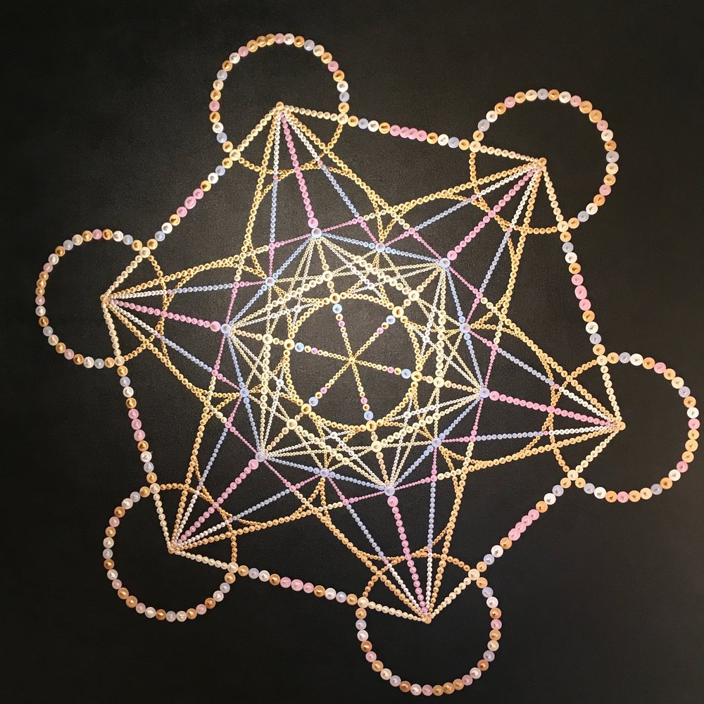 Metatron - The geometry of this painting is a visual representation of the balance between masculine and feminine energies.  Thirteen circles lay the foundation of the divine feminine, connected from center to center, creating the seventy eight lines of the sacred masculine.   With a womb black background and a rainbow of metallic and iridescent paint create a homage to the vehicle of the light spirit body.