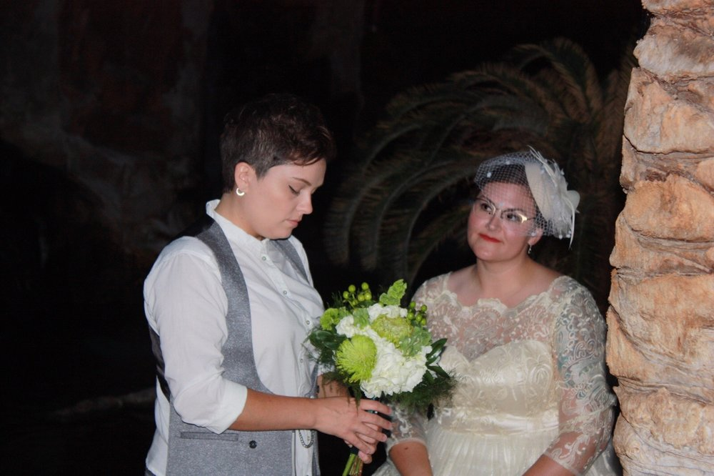 The white and green bouquet was provided by a local Vegas florist.