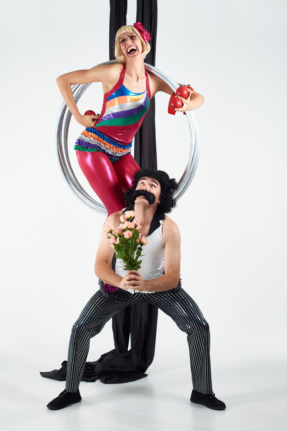 The acrobatic duo Scrambled Legs, Claire Ogden and Shane Smith