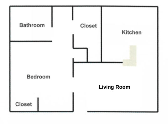 1 Bedroom, 1 Bathroom (Junior, 500 sq. ft.)