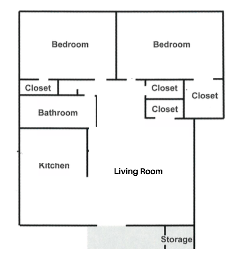 2 Bedrooms, 1 Bathroom (800 sq. ft.)