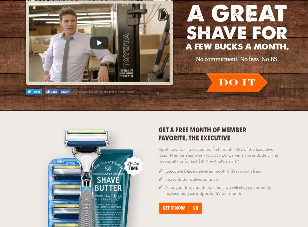 user experience million dollar shave club