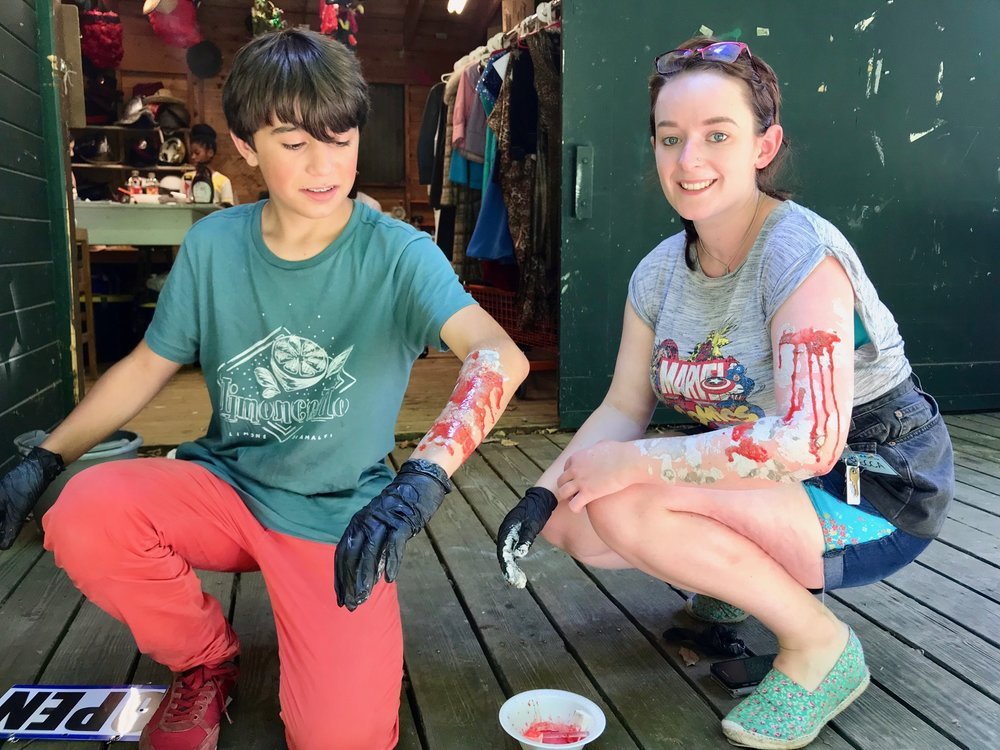 Campers tried out their zombie makeup skills.