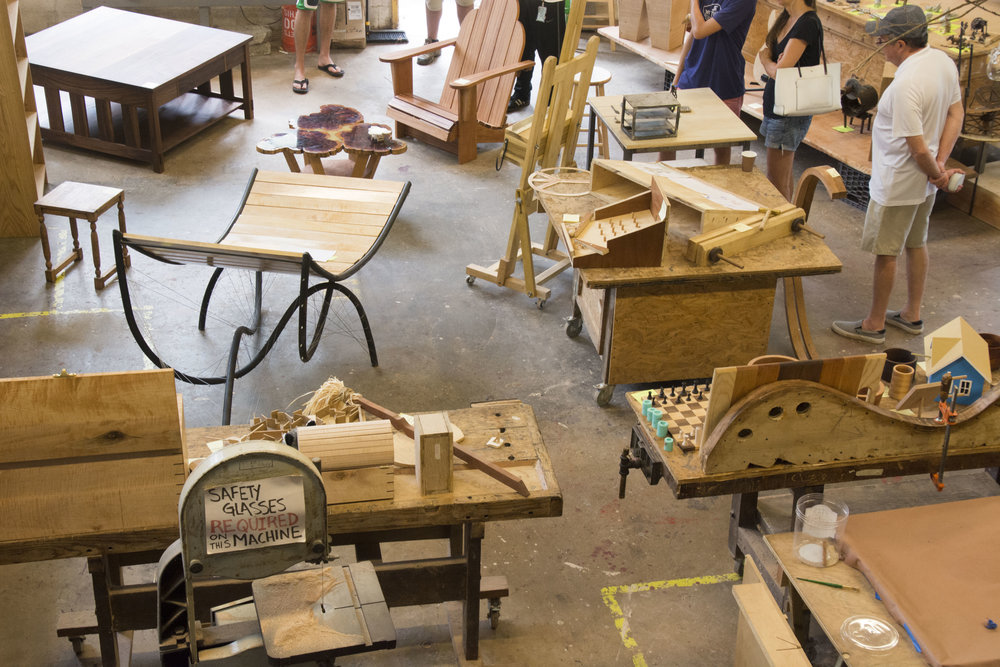 Camper Works in the Wood Shop (wood, ceramics, glass and sculpture)