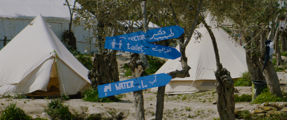 Better Days Refugee Camp Lesvos Greece Tents and Signage