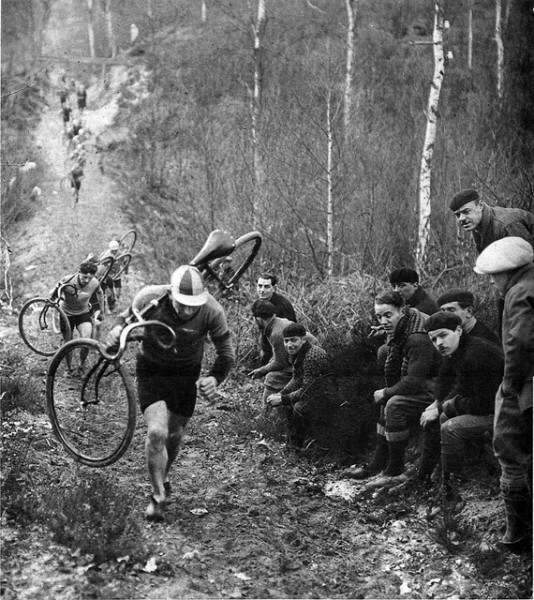 There are many stories about the origins of cyclocross. One is that European road racers in the early 1900s would race each other to the next town over from them and that they were allowed to cut through farmers' fields or over fences, or take any other shortcuts, in order to make it to the next town first.