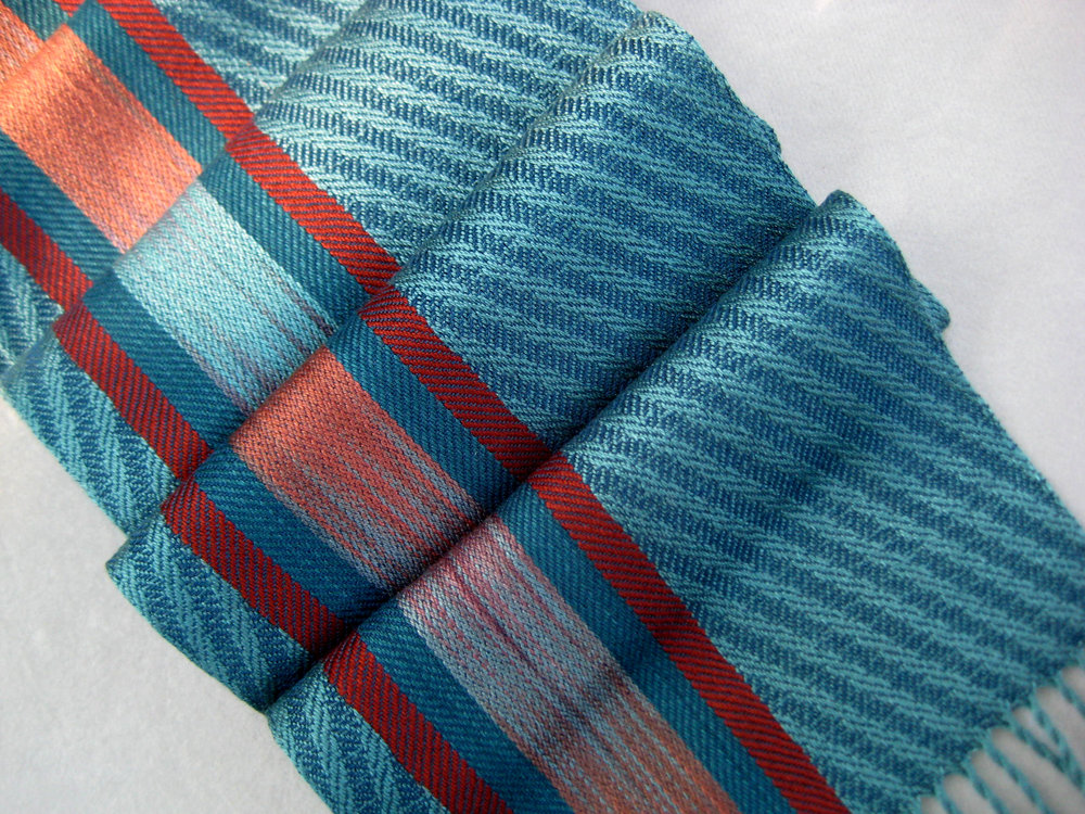 Scarf in Teal and Rust