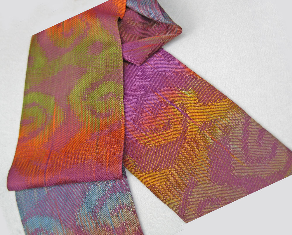 """Twirly"" Handwoven, Hand-dyed Scarf"