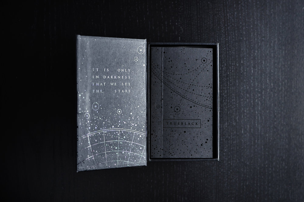 WITHINANDWITHOUT - Sleek black-on-black foil stamped starmaps continuefrom the outside of the box to the inside, and extendto the included booklet and guide.