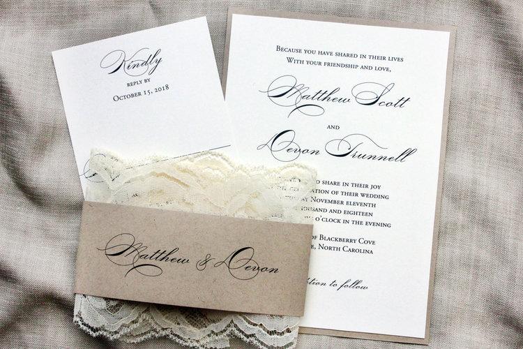 Elegant Wedding Invitations Country Lace Wedding Barn Wedding