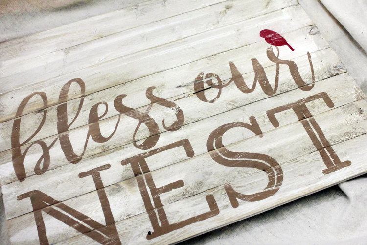 Distressed Rustic Wooden Sign, New Home Welcome Sign, Bless Our Nest ...