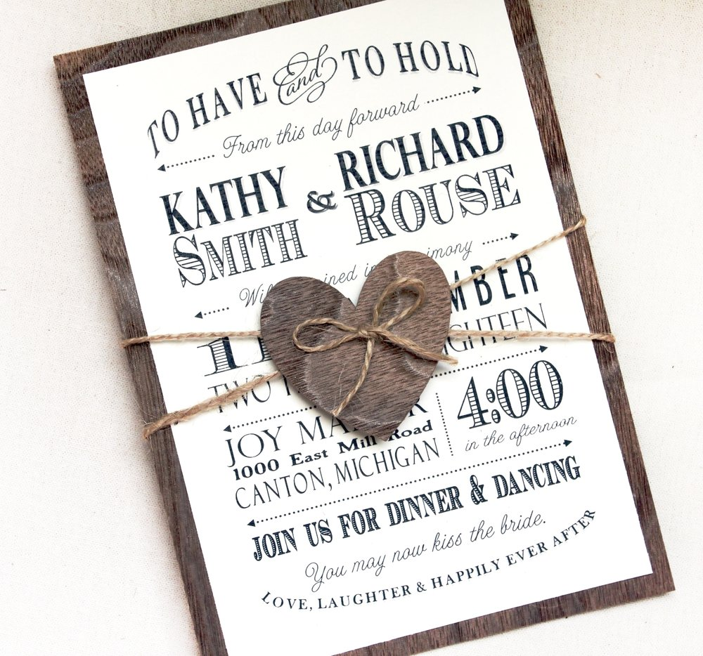 Rustic Wedding invitation with real wood backing woodland wedding