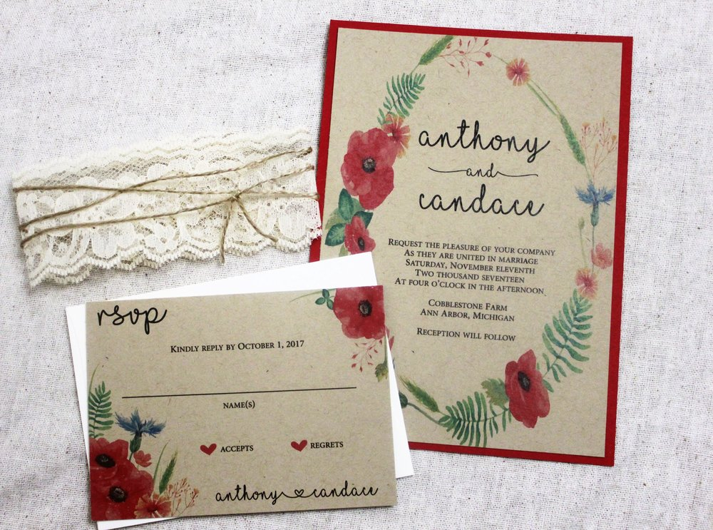 Red Boho Wedding Invitation Rustic Wedding Invites Wedding