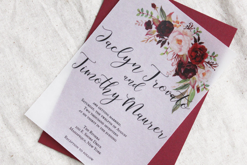 Vellum Wedding Invitation Burgundy wedding invite Wedding