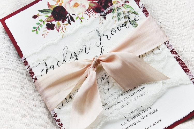 Champagne And Wine Wedding Invitations Marsala And Blush Wedding