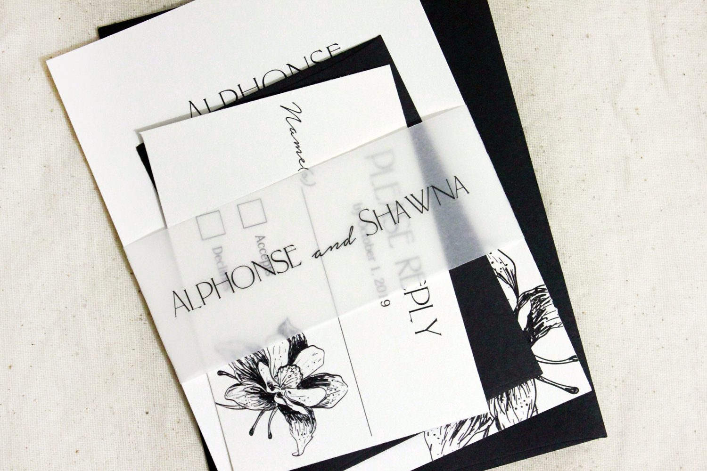 Black and White Wedding Invitations, Elegant Wedding Invitations, floral  wedding invitation, Invitation Set, Vellum wedding invitation Suite —  Lovely•Rustic•Weddings