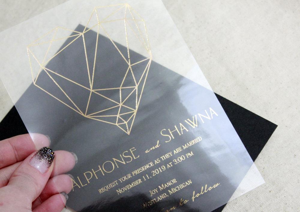 Geometric Wedding Invitation with Rose Gold Foil 2018 Wedding