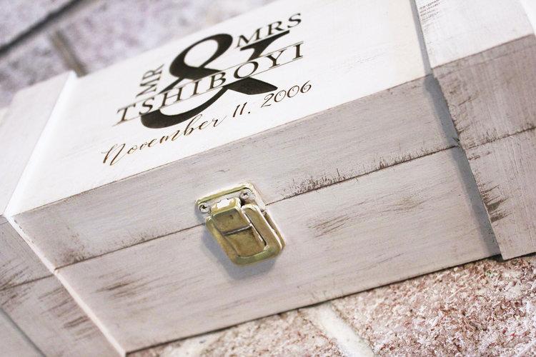 Rustic Wood Personalized Wine Box Keepsake Wedding Gift Anniversary Gifts