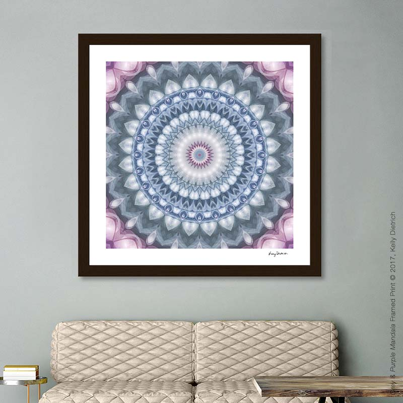 Plum & Grey Mandala Framed Art Print - Available in  my Curioos shop
