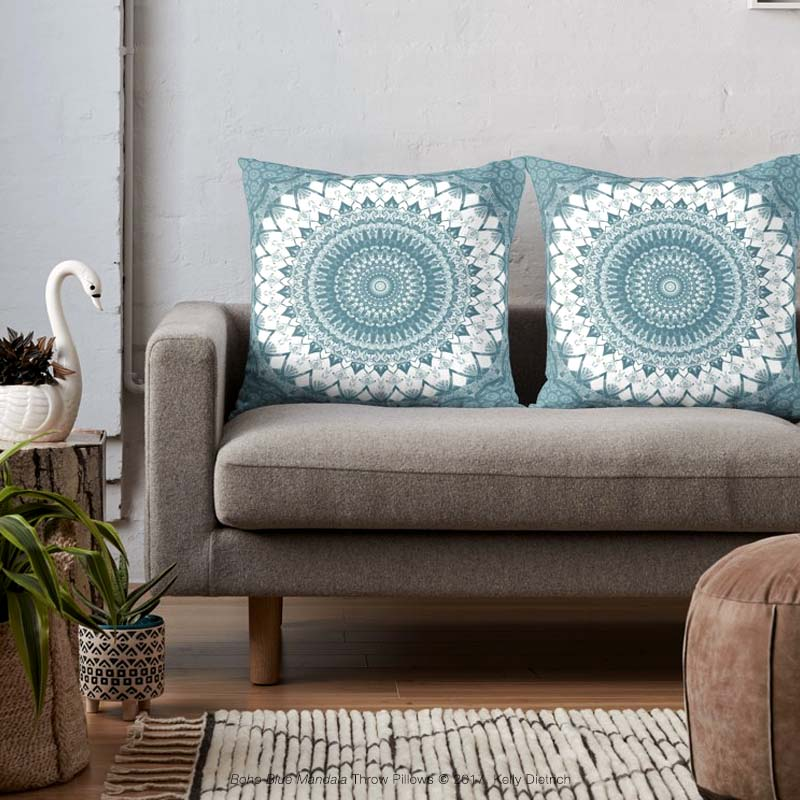 Boho Blue Mandala Throw Pillows