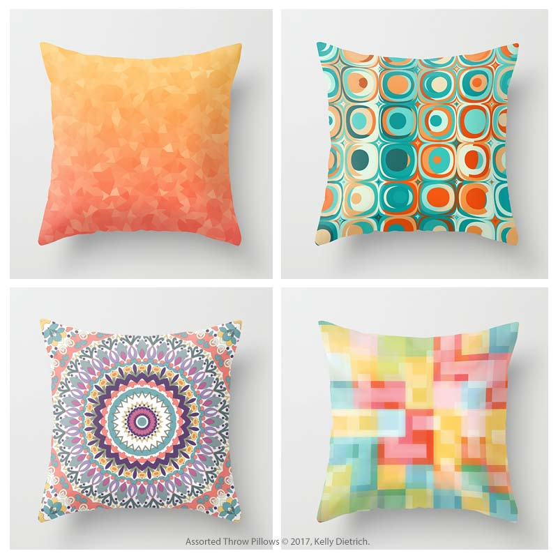 Patterned pillows (not mandalas) are now only available in my RedBubble shop.