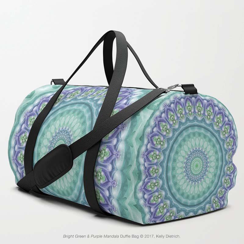 Bright Green & Purple Mandala Duffle Bag in  My Society6 Shop