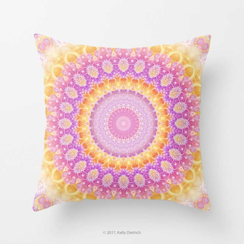 Mandala of Summer Throw Pillow