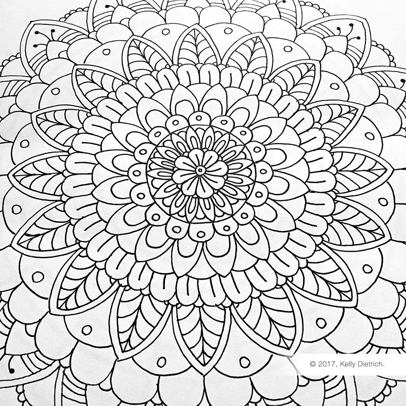 Mandala that I drew using the 16 - spoke template. Download the template, then post your drawings on Instagram and tag me:  @kelly_dietrich