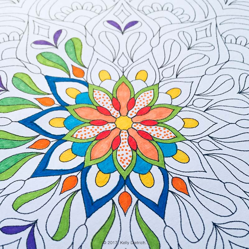 Flourish Mandala Free Downloadable Coloring Page  by Kelly Dietrich. For personal use only.