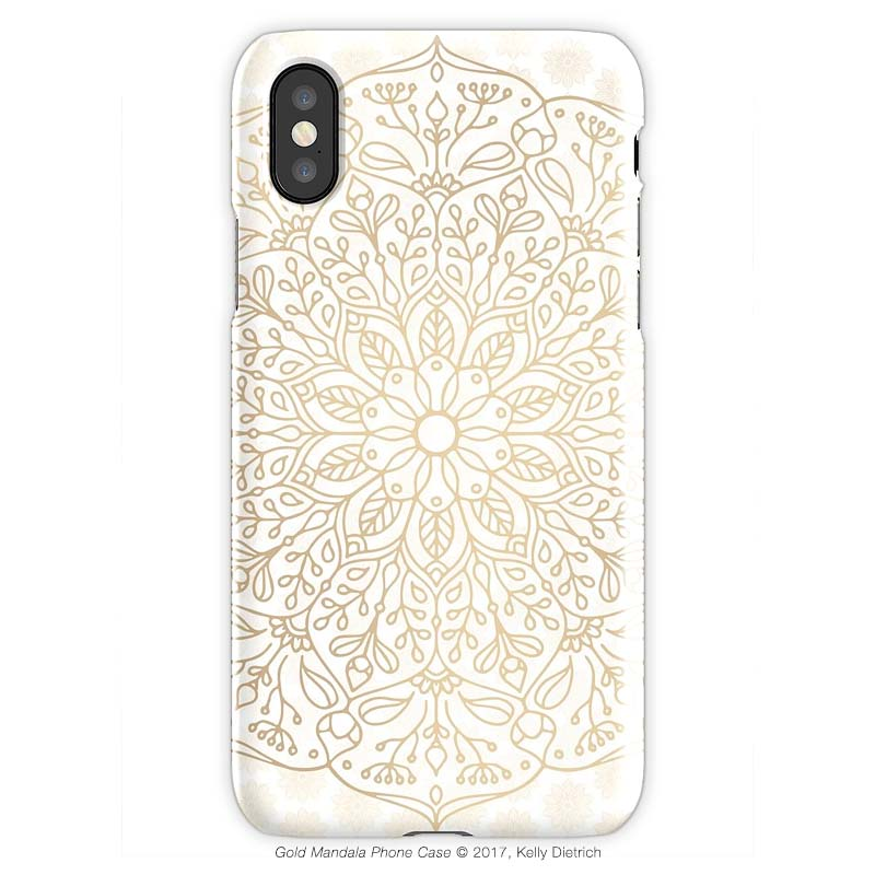 Gold Mandala iPhone X Phone Case.  Available in my Redbubble shop.