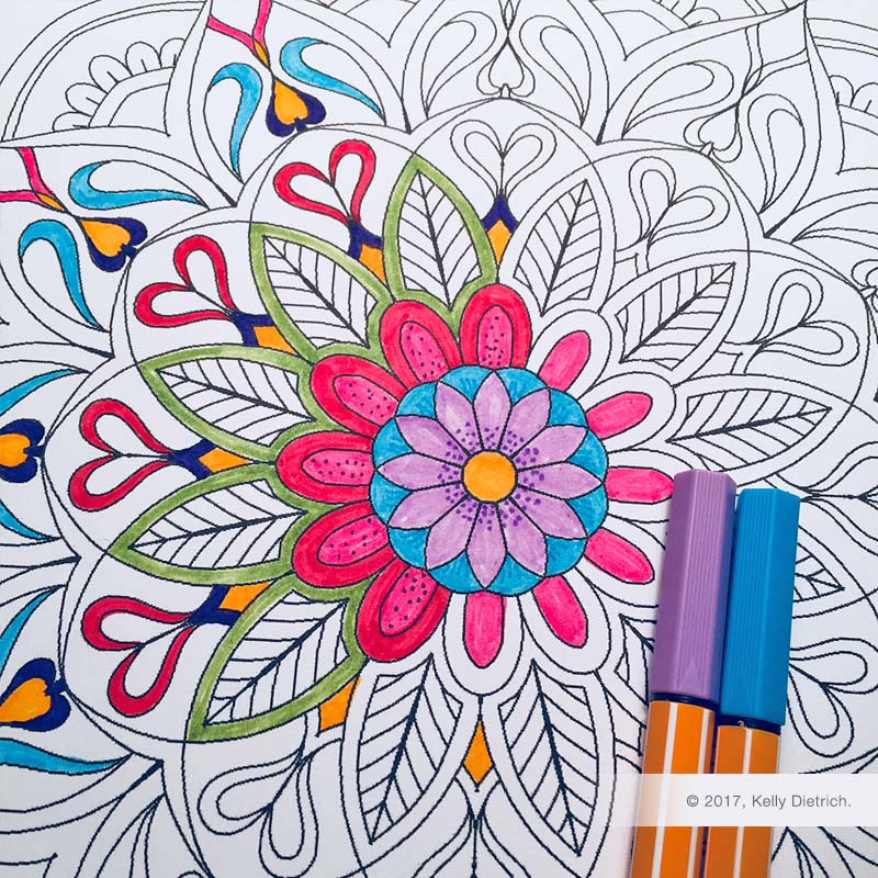 Petals Mandala - a free, printable mandala coloring page by Kelly Dietrich. Download here.
