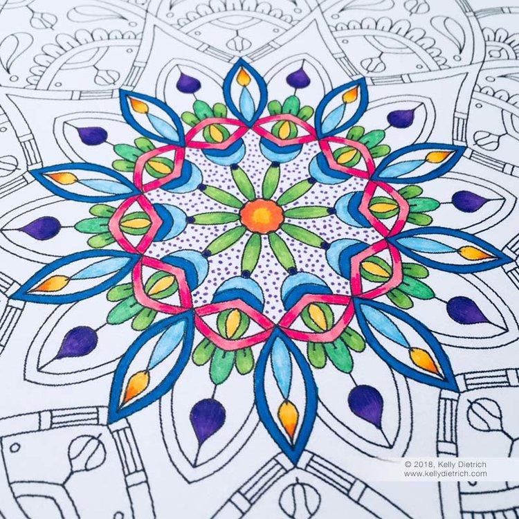 Joy Mandala: Free Printable Coloring Page — Kelly Dietrich Mandala Art