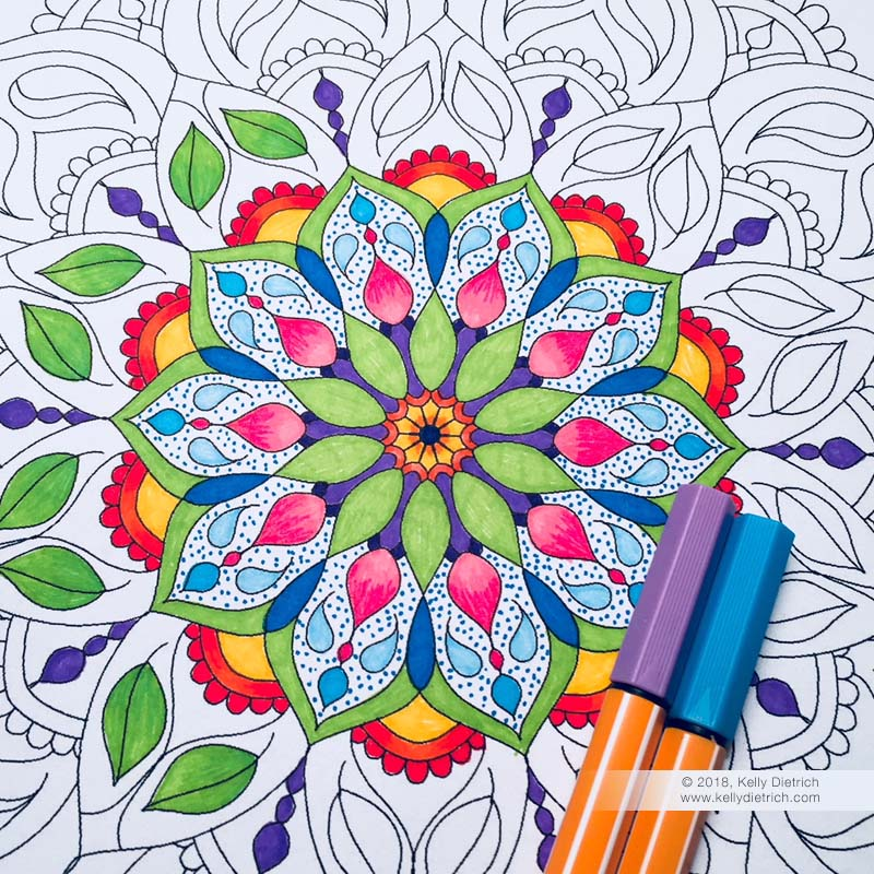 Renewal Mandala, free downloadable coloring page.