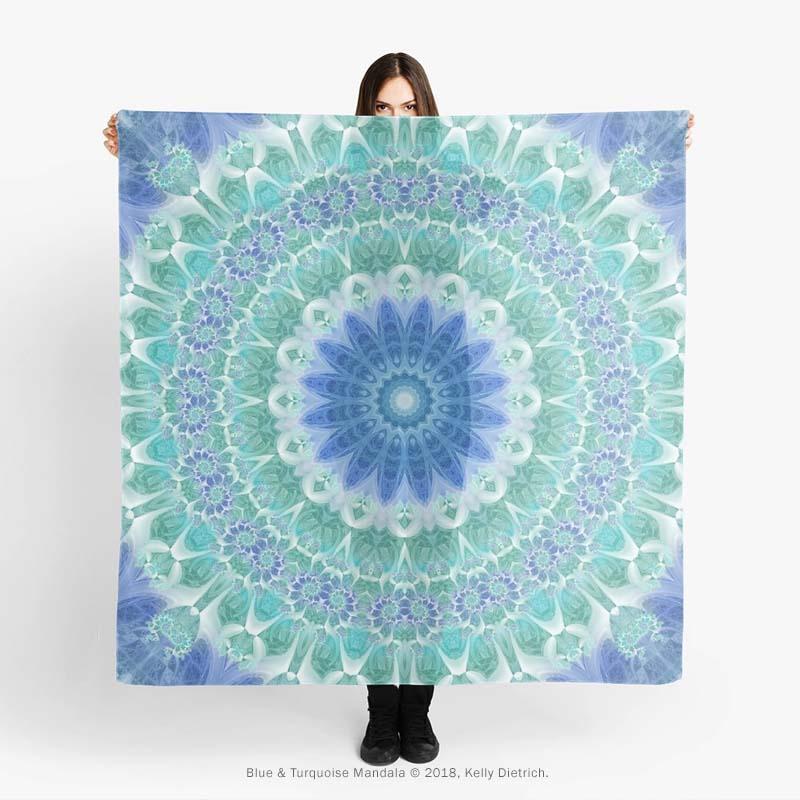 Blue & Turquoise Mandala Scarf