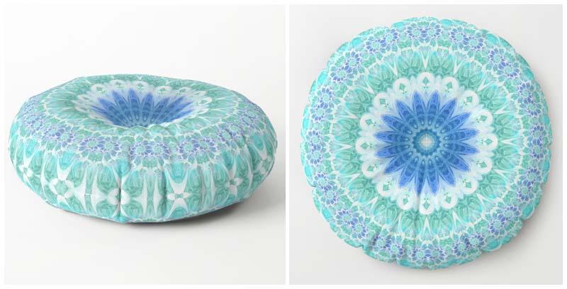 Blue & Turquoise Mandala Round Floor PIllows
