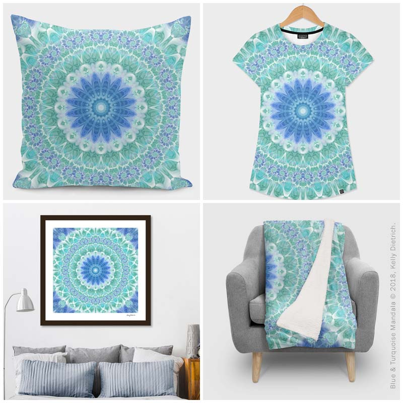 Clockwise from top left: Blue & Turquoise Mandala pillow, women's all over print t-shirt, blanket, and framed print in my Curioos shop.