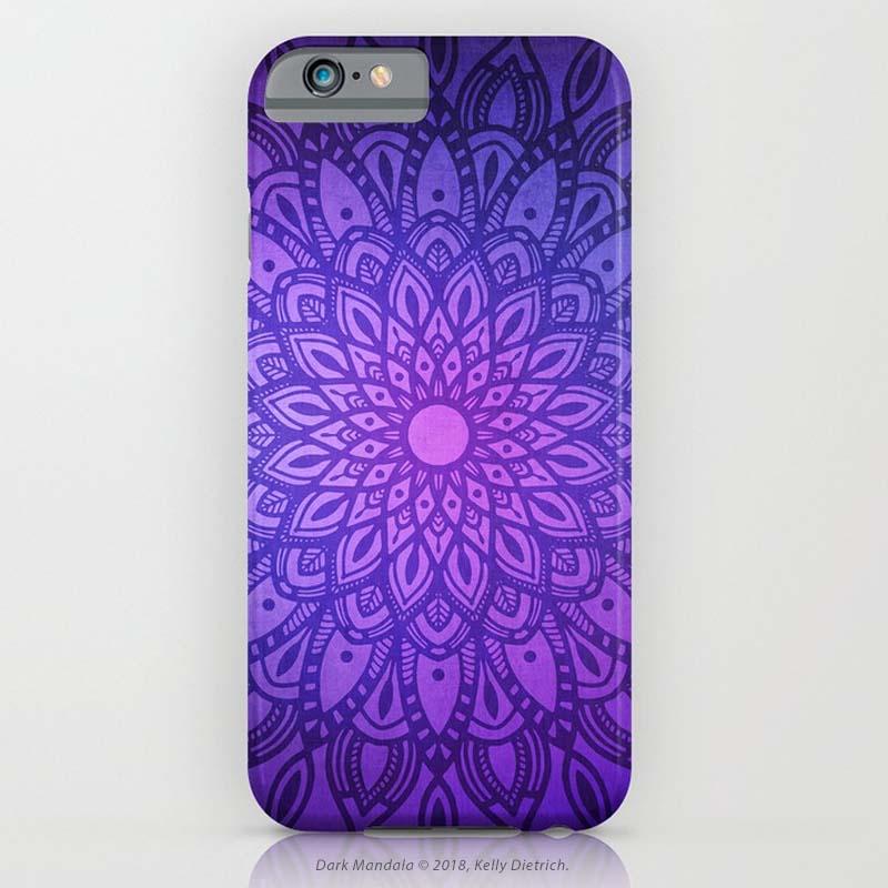 Dark Mandala in Purple and Navy Phone Case