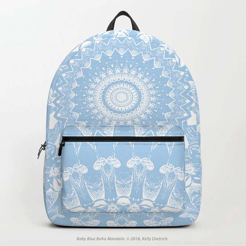 Baby Blue Boho Mandala Backpack - Available in my Society6 shop