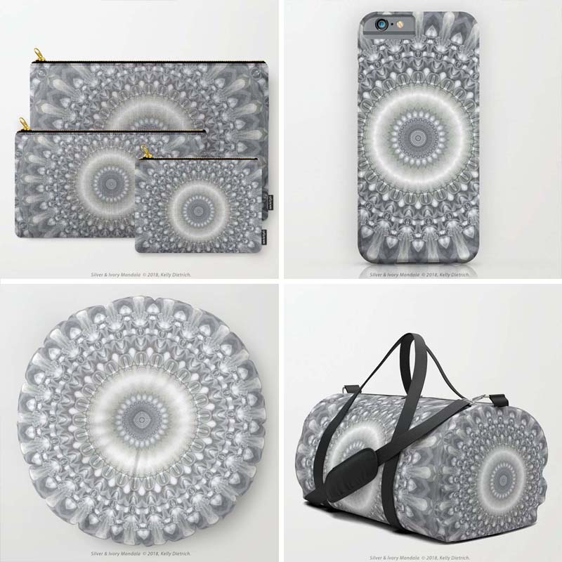 Silver & Ivory Mandala  design shown on (clockwise from top left: carry all pouches set of 3, iPhone 6 phone case, medium size duffel bag, and round floor pillow. All at  Society6 .