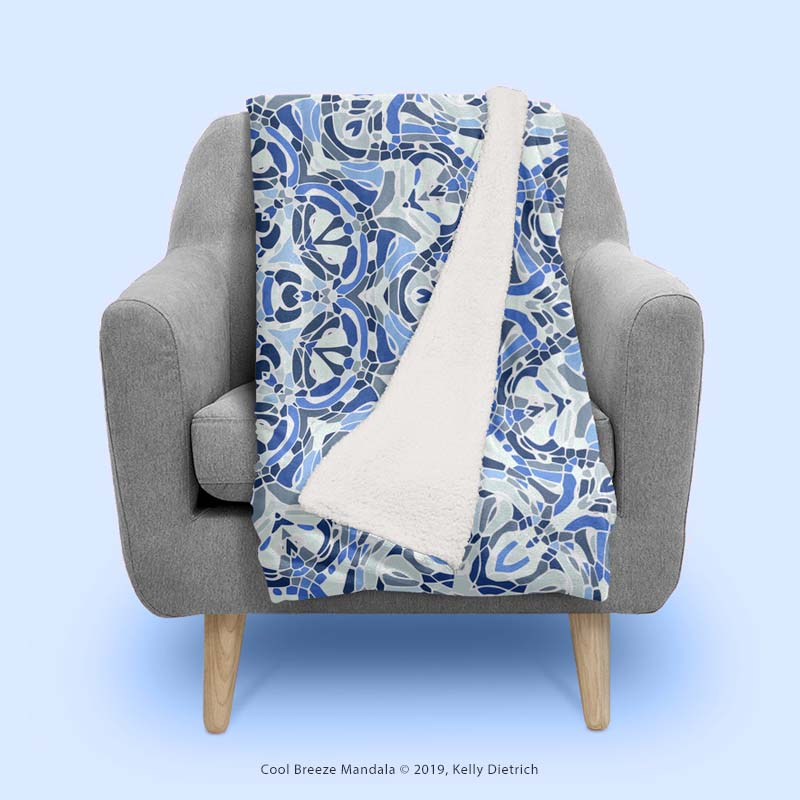 Cool Breeze Mandala Fluffly Blanket from Curioos