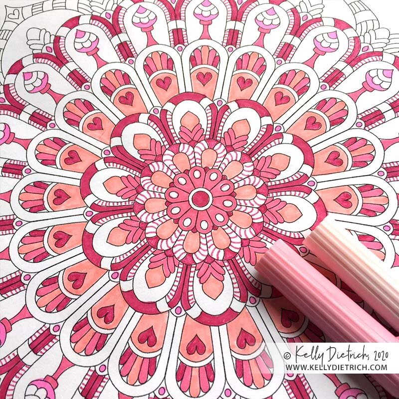 Heart-Filled Flower Mandala: February's Free Coloring Page — Kelly ...