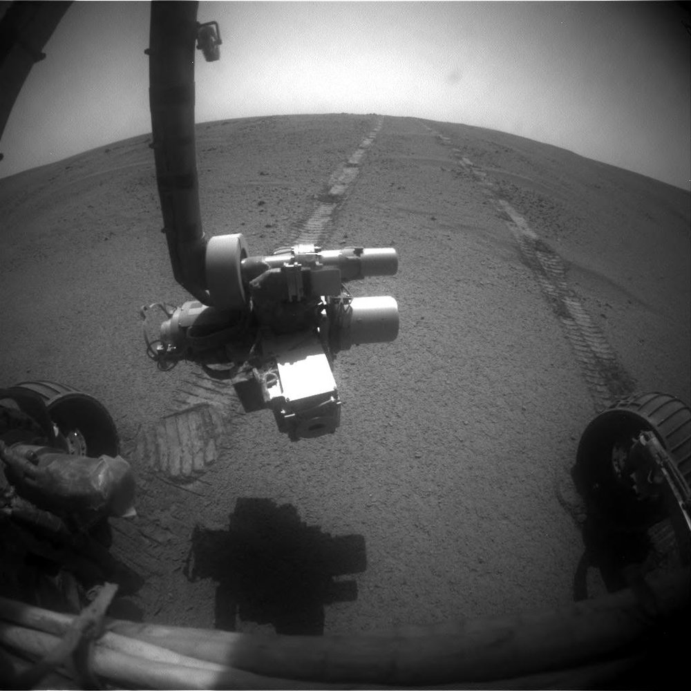 A Front HazCam image from my first Solo ECAM shift on Opportunity, Sol 4720