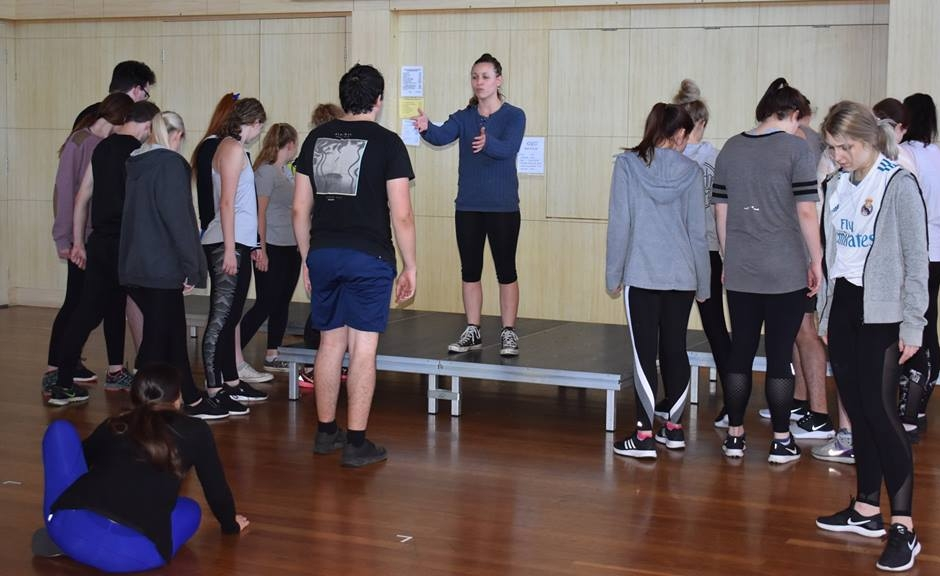 CQU theatre students rehearsing at the Con in Mackay, before heading to Malaysia on Saturday.  Photo courtesy CQUniversity School of Education and the Arts.