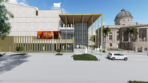 Concept for the new Rockhampton Art Gallery, beside Customs House in Quay St.  Image courtesy Rockhampton Regional Council.