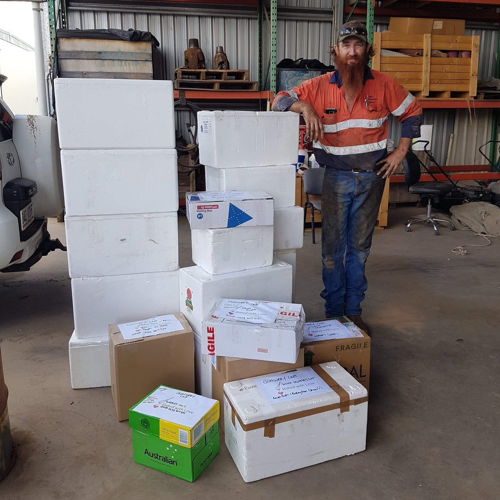 At Roma Transport Services, helpful mechanic 'Stretch' loaded the donations en route to Cloncurry.
