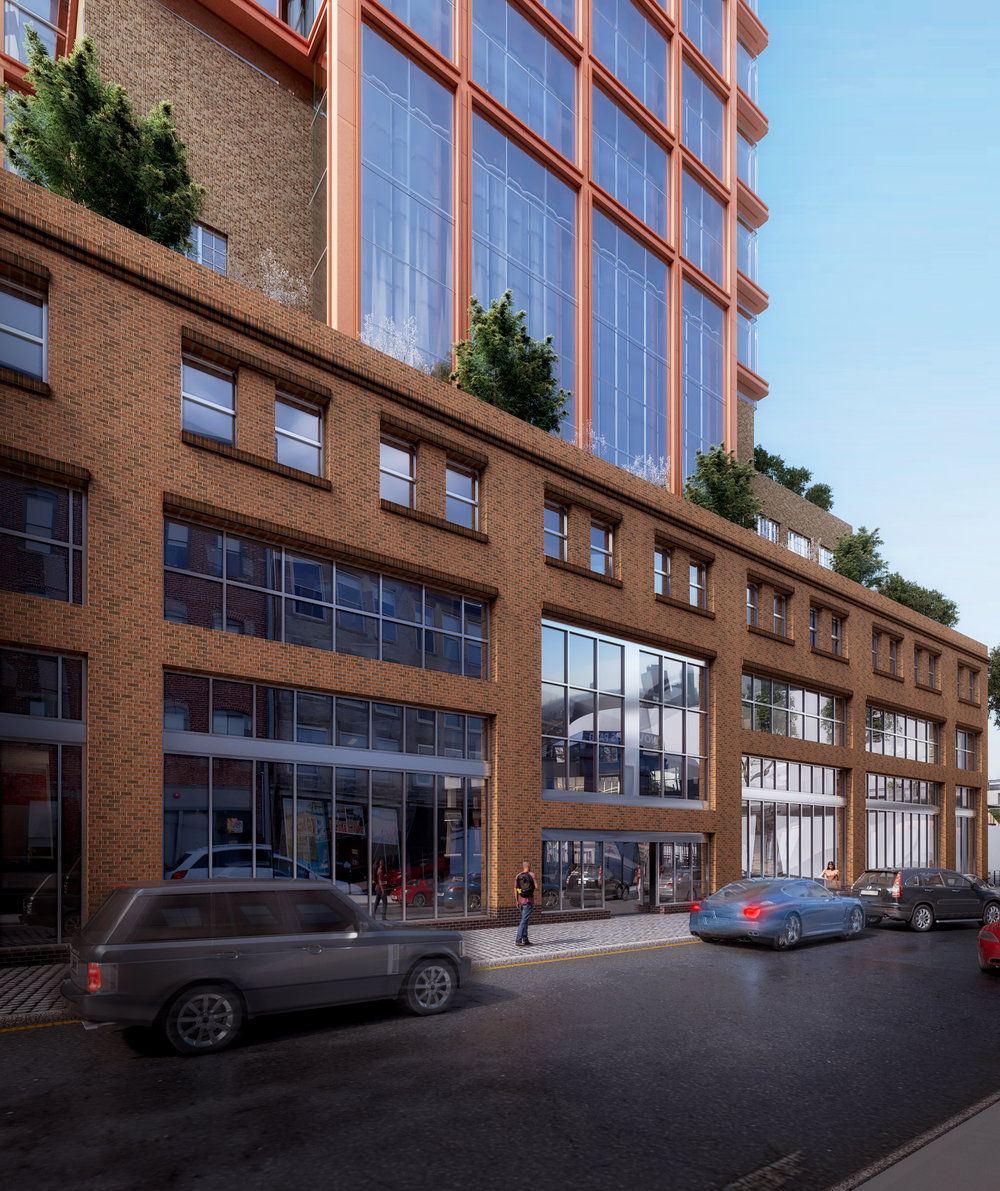 "The design seeks to create an active relationship with the neighborhood by developing ways for the North Market to engage with new outdoor spaces, activate the street frontages and connect with the surrounding neighborhood. We describe the ground floor of Market Tower as ""porous"" and consciously sought to allow the flow of market activity and marketgoers to shape the layout and dynamic of Market Tower. In support of this, we've endeavored to reinforce free-flowing circulation by developing an extensive open second floor, which overlooks the East Wing and the Grand Arcade. We have also limited the number of spaces which require solid walls, to open views across the floor area as much as possible. An anticipated 2-story retail pharmacy at the corner of Wall St. and Vine St. will further engage the street and increase pedestrian traffic."