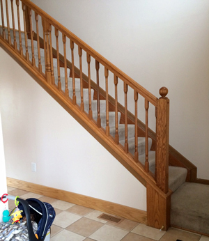 Before… - Here's how the old stairs looked!A word of caution for fellow DIYers – read up on the code for stairs. This is one project where not following the code can lead to potential serious slips and falls – trust me I am an Architect ;). Scroll to the end of the post to understand why this is important.