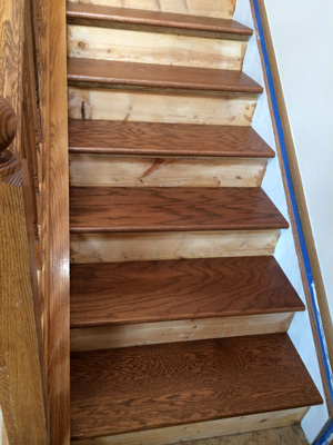 Staining & sealing the new treads - After cutting to size, we stained the treads with a custom stain from Sherwin Williams. The guys at Sherwin Williams were very helpful! They tweaked the stain several times until we had a close match with our existing hardwood. We then coated the treads with three thin coats of polyurethane. We applied just enough poly to give the tread some scratch resistance but still retain some grip. The coating is not as thick and glossy as the one on our hardwood floors. These are the stained hardwood treads after we placed them onto the existing treads (but not glued yet).